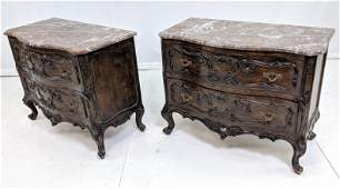 Pr Vintage Carved Marble Top  Stands Chests Carv