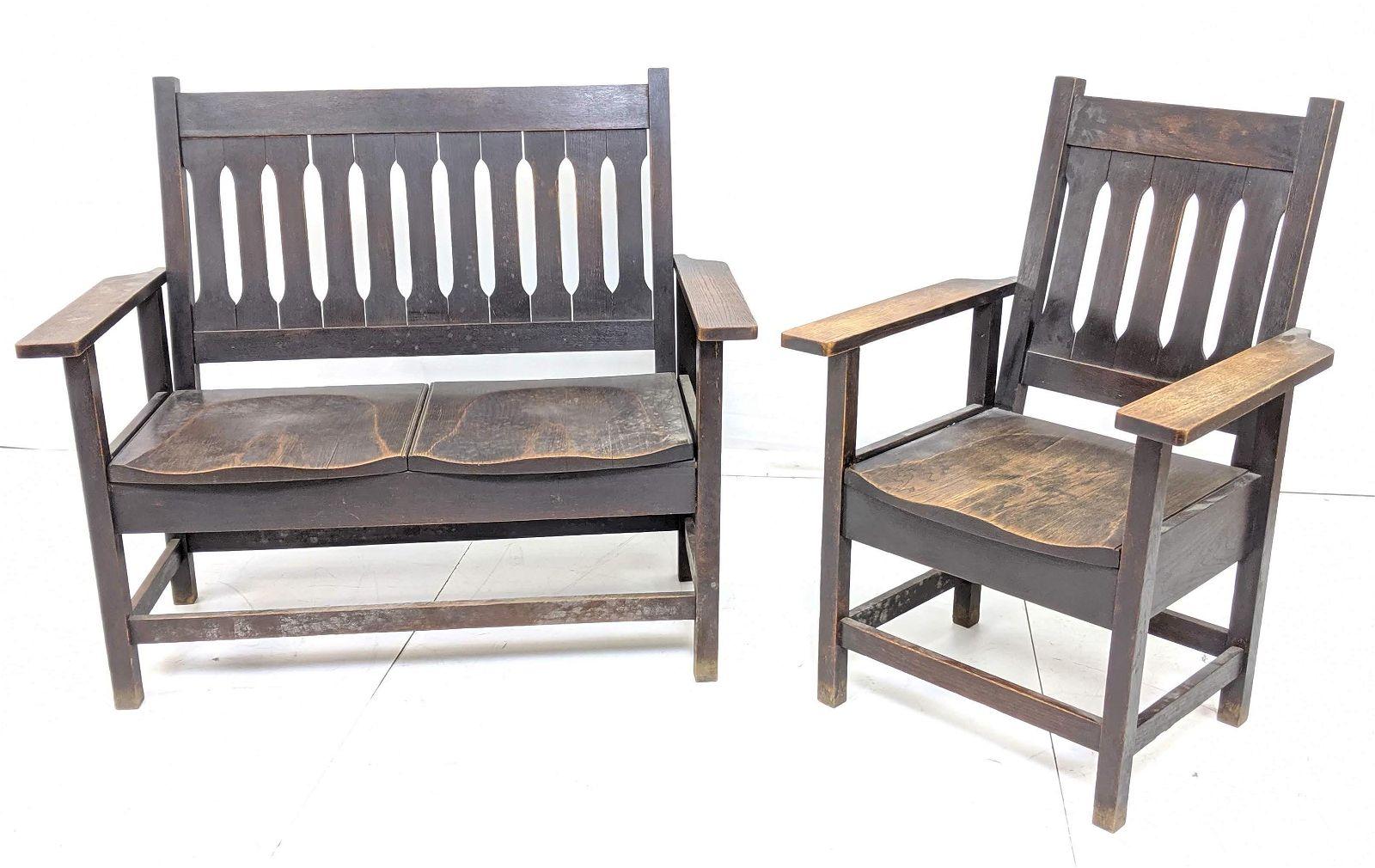 2pc Mission Oak Chair & Love Seat. Slatted back,