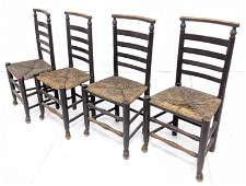 4 Antique Ladderback Chairs with Rush seats.