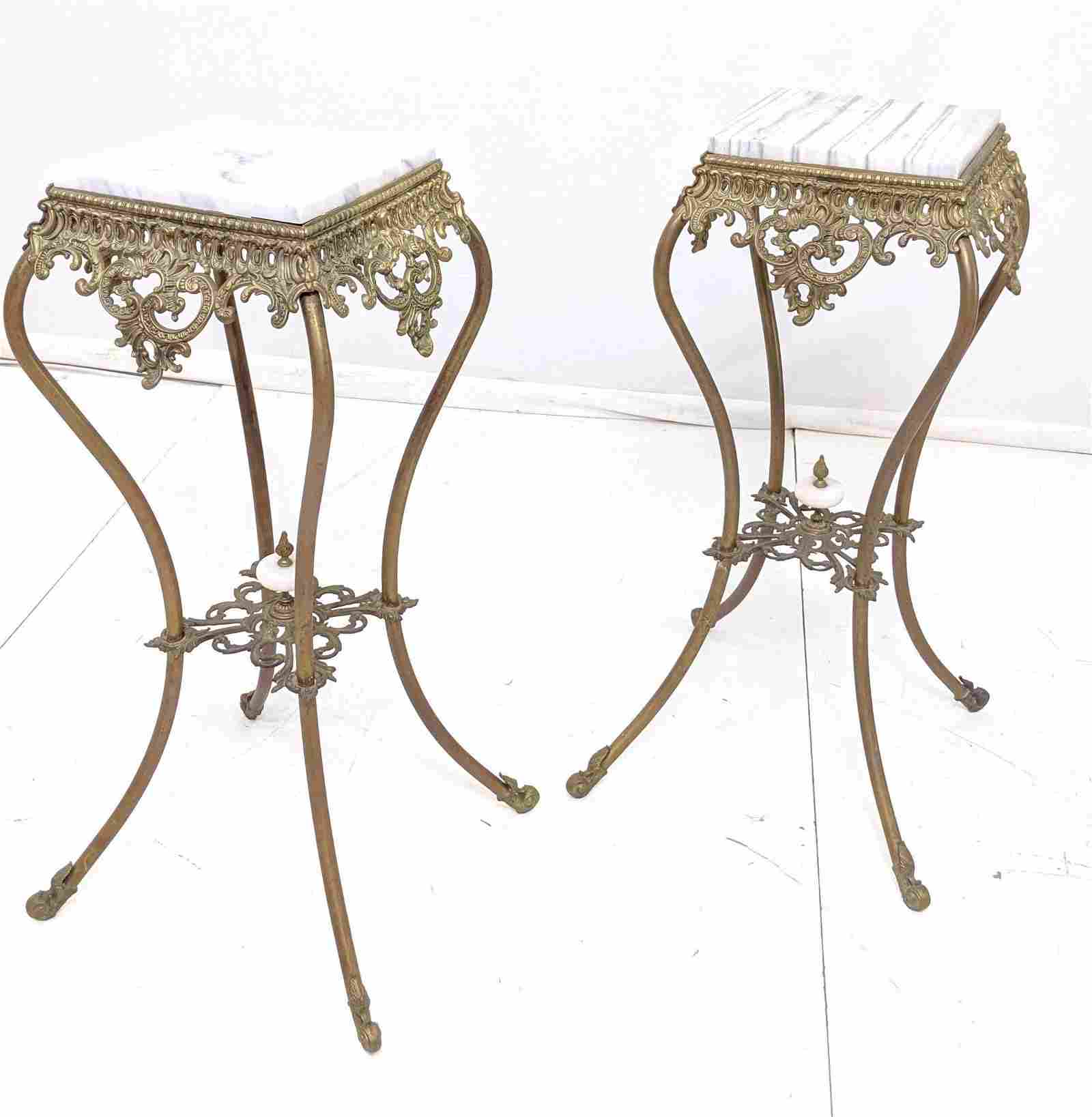 Pr Brass Marble Top Pedestal Stands. Gilt metal w