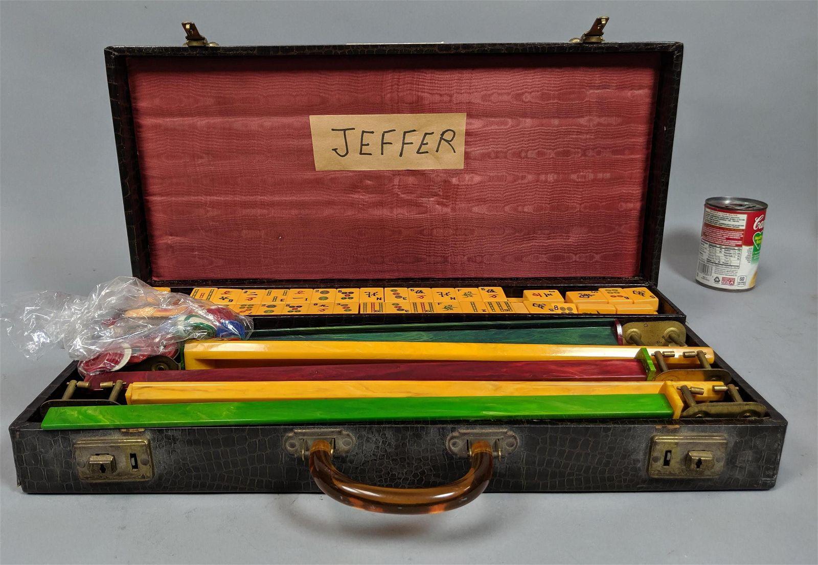 Vintage Mah Jongg. Bakelite racks and pieces.