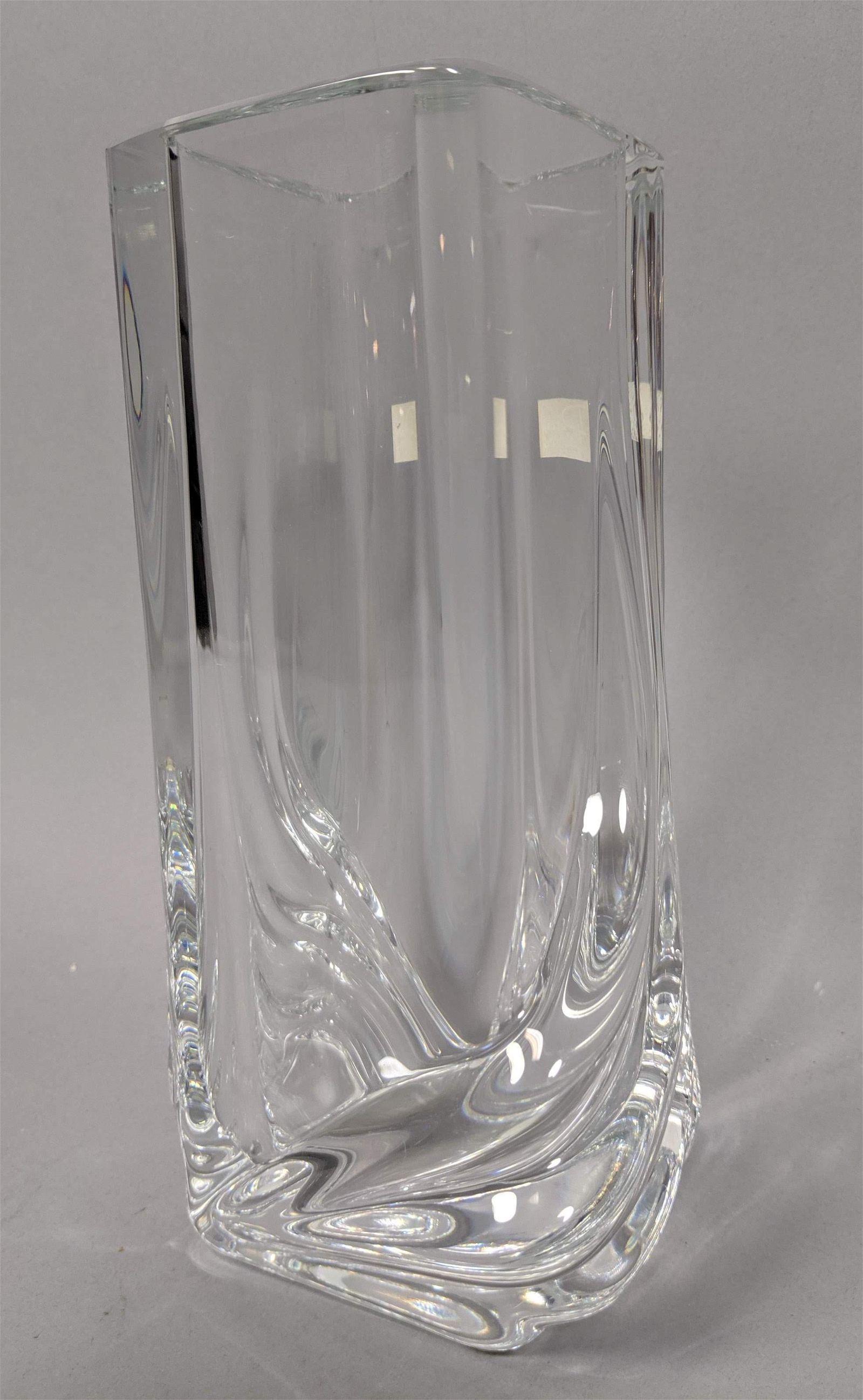 DAUM France Crystal Vase Twisted Diamond Form. Bl