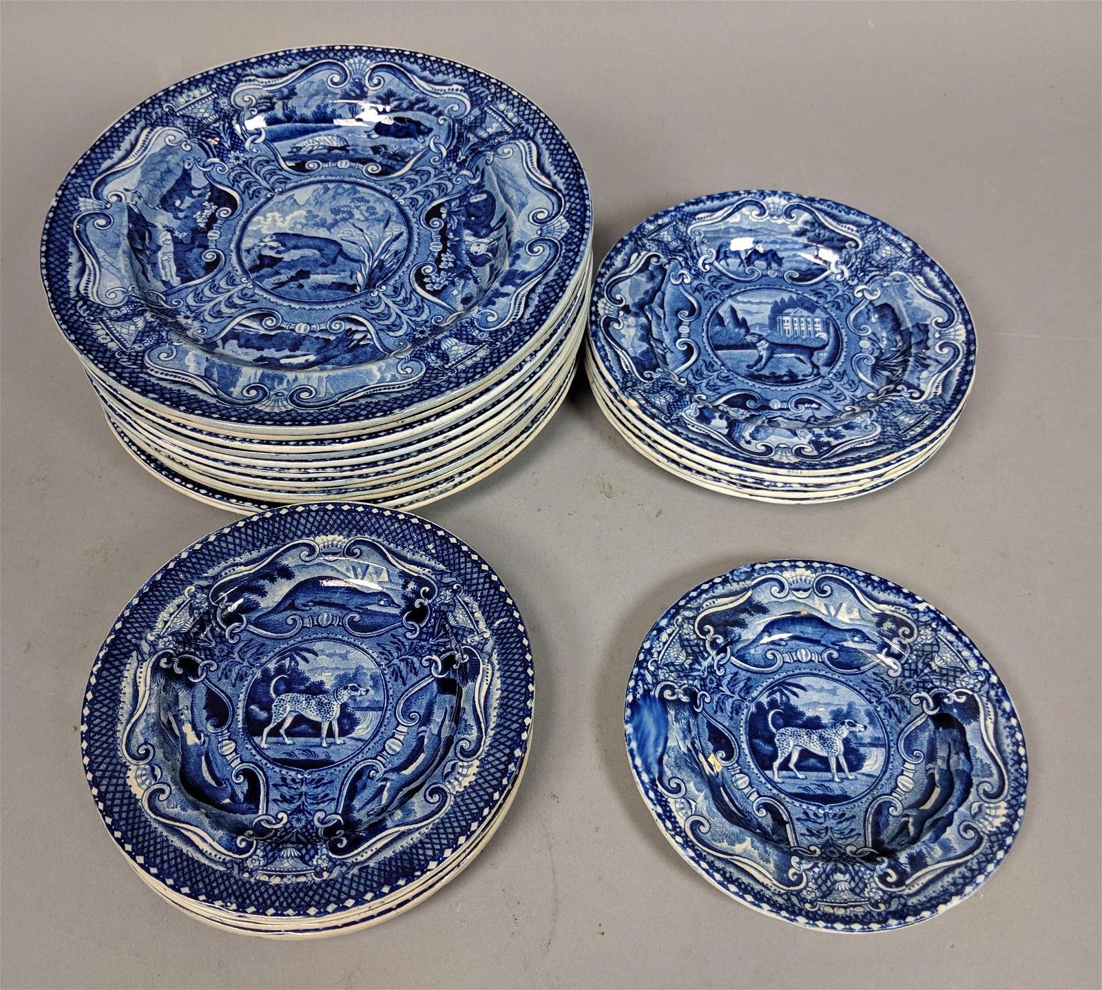 "23pc Set HALL Quadrupeds Plates. Twelve 9"" plates"