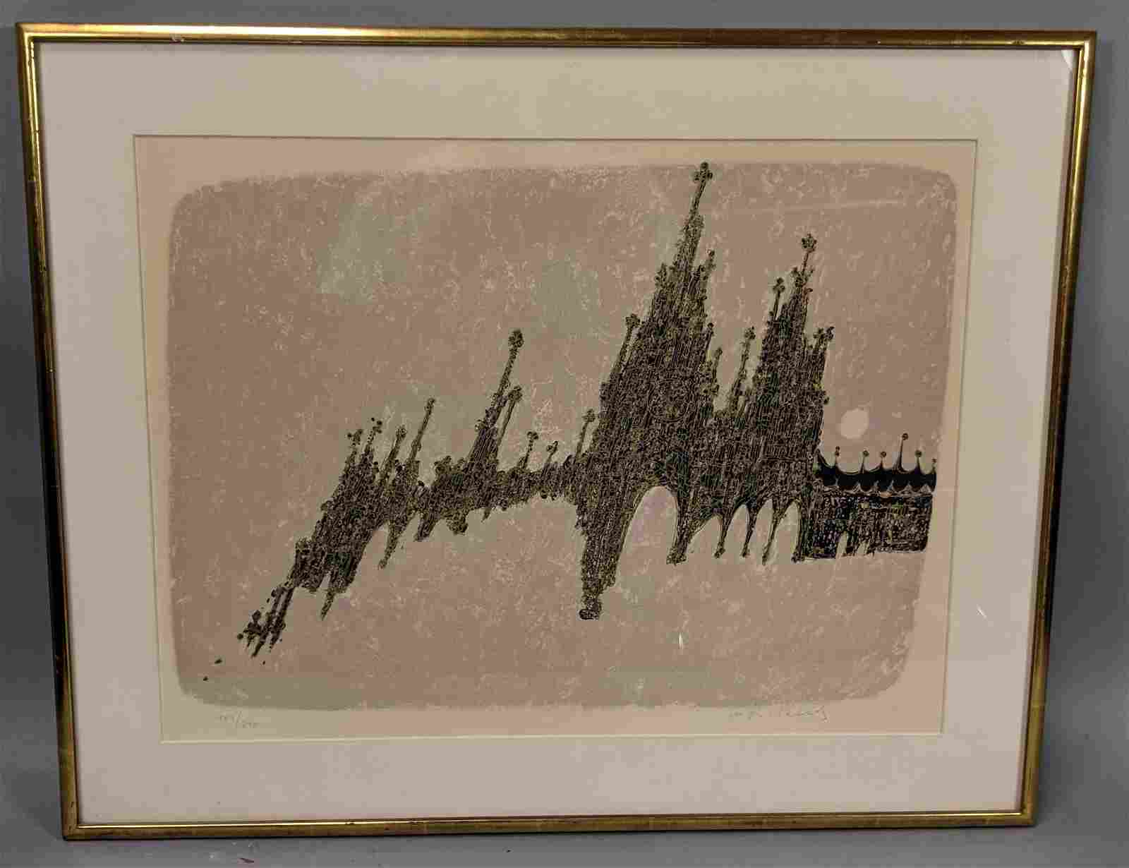 Modernist Abstract Cathedral Cityscape Print. Pen