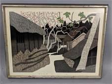 KIYOSHI SAITO Japanese Modernist Wood Block Print
