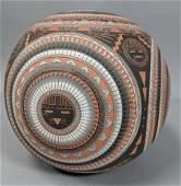 Hand Cut Native American Pottery Vase. M. SHEPHER