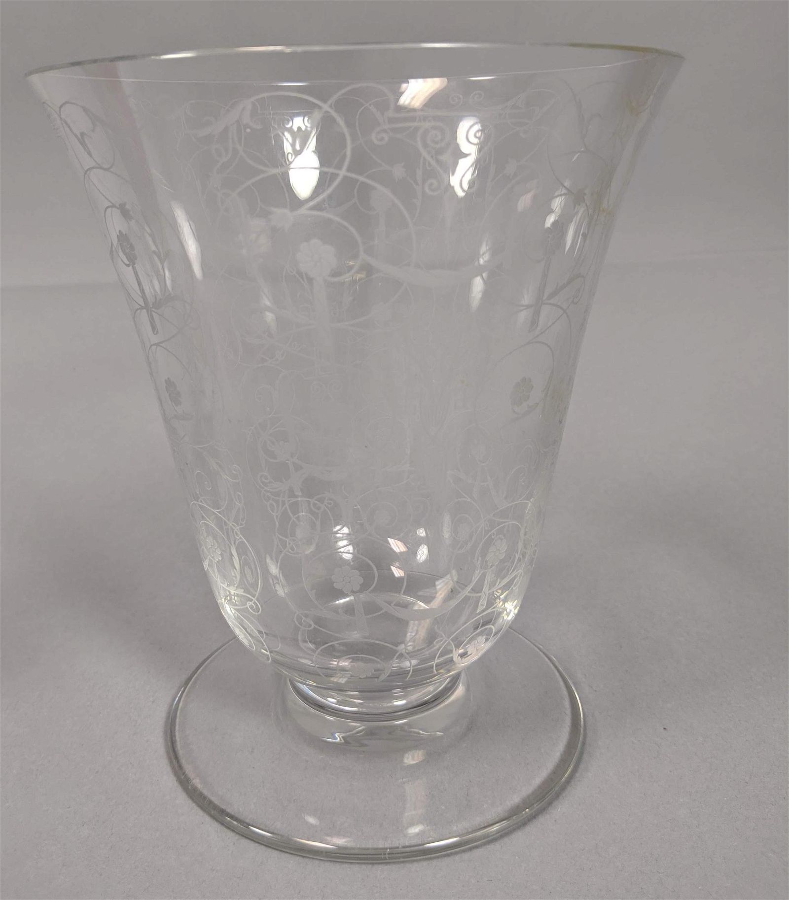 BACCARAT French Crystal Trumpet Vase. Flared clea