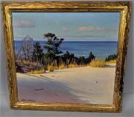 "FRANK B DUDLEY Coastal Landscape Painting. ""Shado"