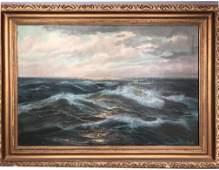 Signed BERK Vintage Marine Scene Oil Painting. Ro