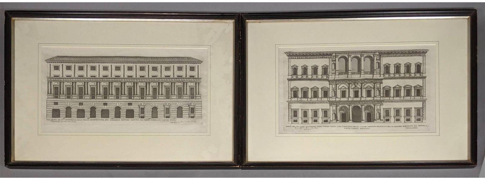 2pc Architectural Engravings Ferrario et Falada,