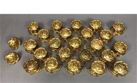 25pc SHERLE WAGNER Gilt Metal Door Knobs and Back