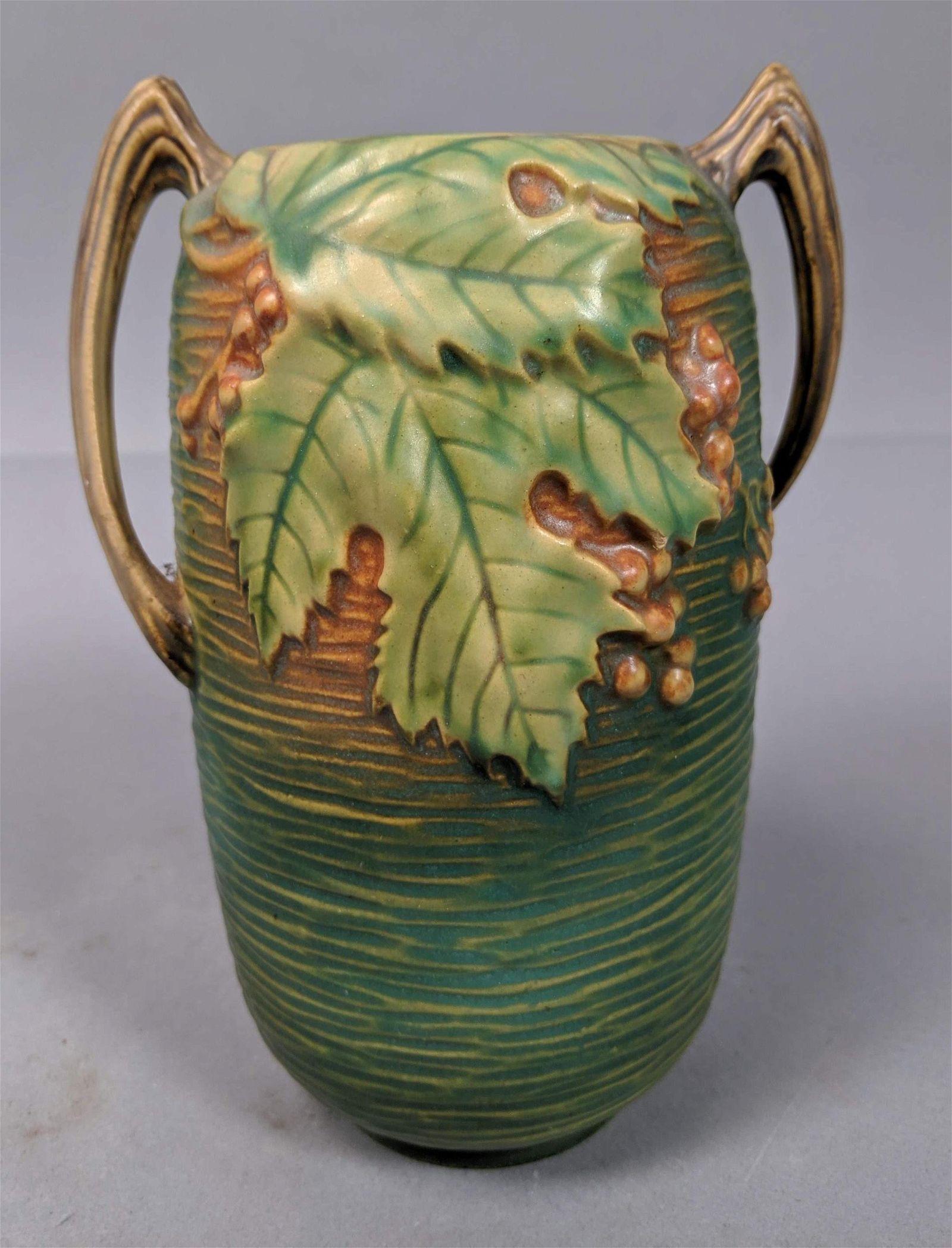 ROSEVILLE Bushberry Art Pottery Vase. Green Glaze