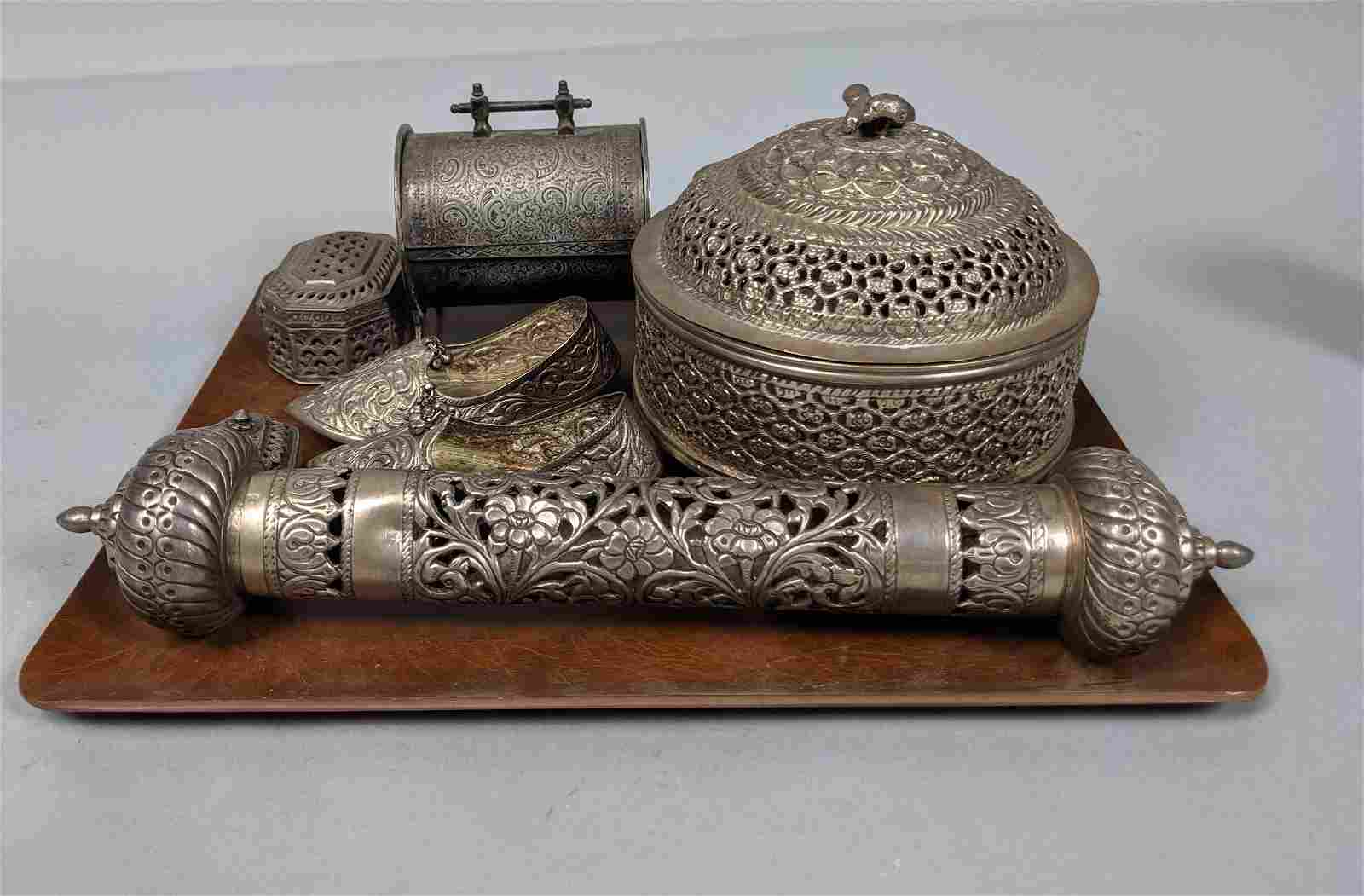9pc Middle Eastern Silver Objects. Hinged and lid