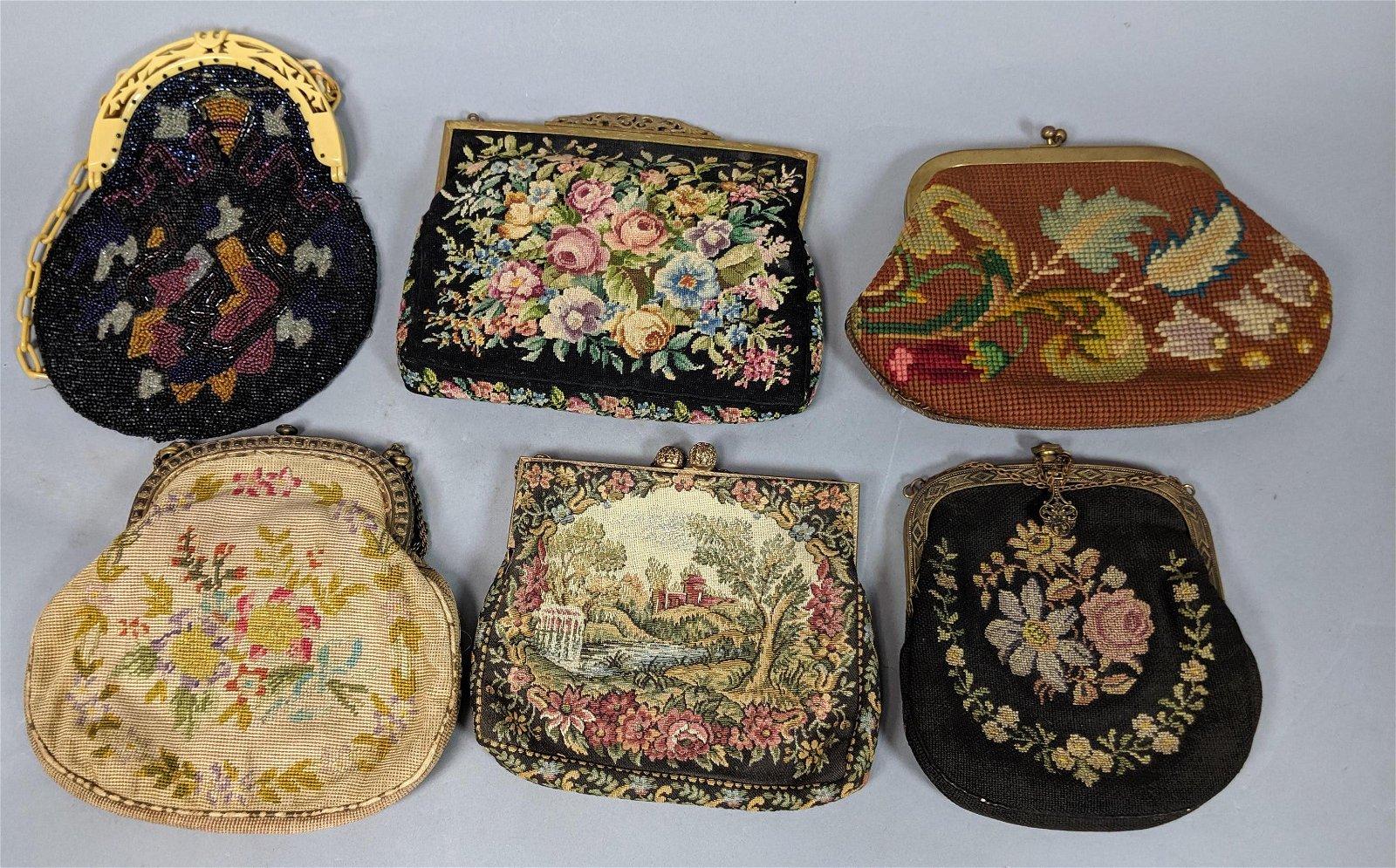 6pc Vintage Hand Bag Purse Lot. Mostly crewel or