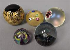 5pc Studio Art Glass Paperweight Lot. Some signed