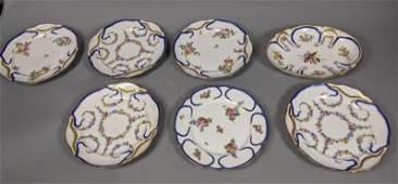 7pc Continental Porcelain Oval Bowl. 6 plates, tw