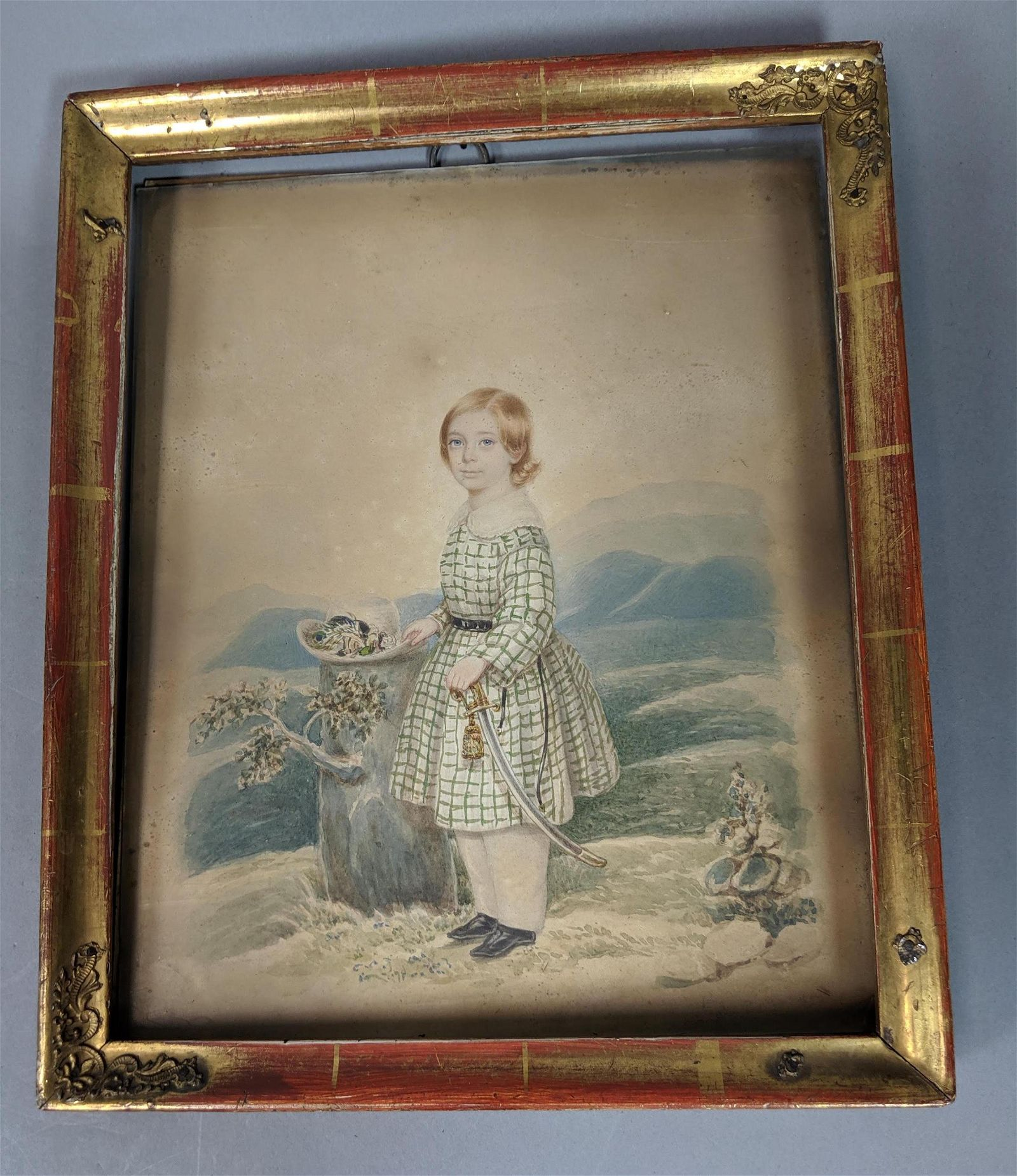 Antique Watercolor Portrait Painting. Young girl