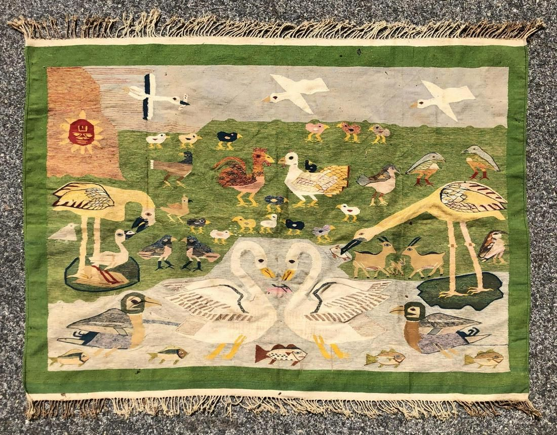 5'8 x 4'1 Woven Tapestry Carpet.. Animals