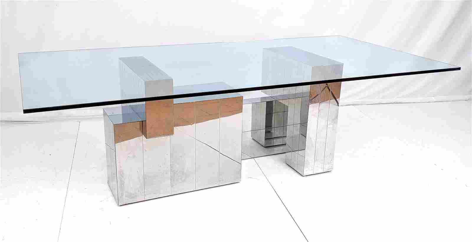 PAUL EVANS Cityscape Dining Table. Modern Chrome