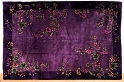 "11'6"" x 8'8"" Purple Chinese Art Deco Rug Carpet."