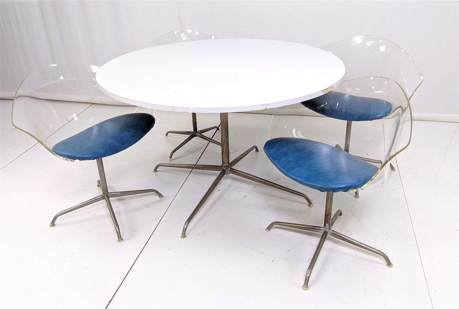 Mid Century 5pc Lucite Kitchen Set. 4 Lucite Chai