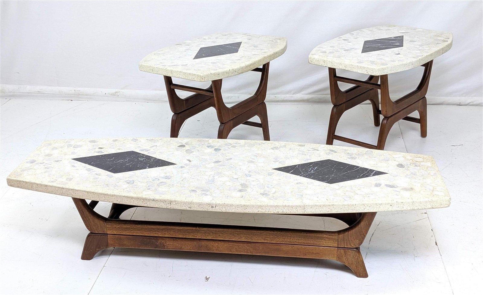 3pc American Walnut Terrazzo Table Set. Inlaid Ma