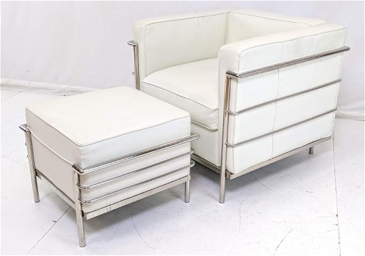 Brilliant Le Corbusier Lc 2 Style Leather Chrome Chair Ottoman Pabps2019 Chair Design Images Pabps2019Com