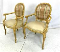 Pr Designer Rope Carved Wood Side Arm Chairs Car
