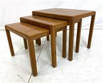 3pc VEJLE STOLE OG Danish Teak Nesting Tables. Te