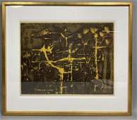 SAM KANER Modernist Abstract Vintage Print Mottl