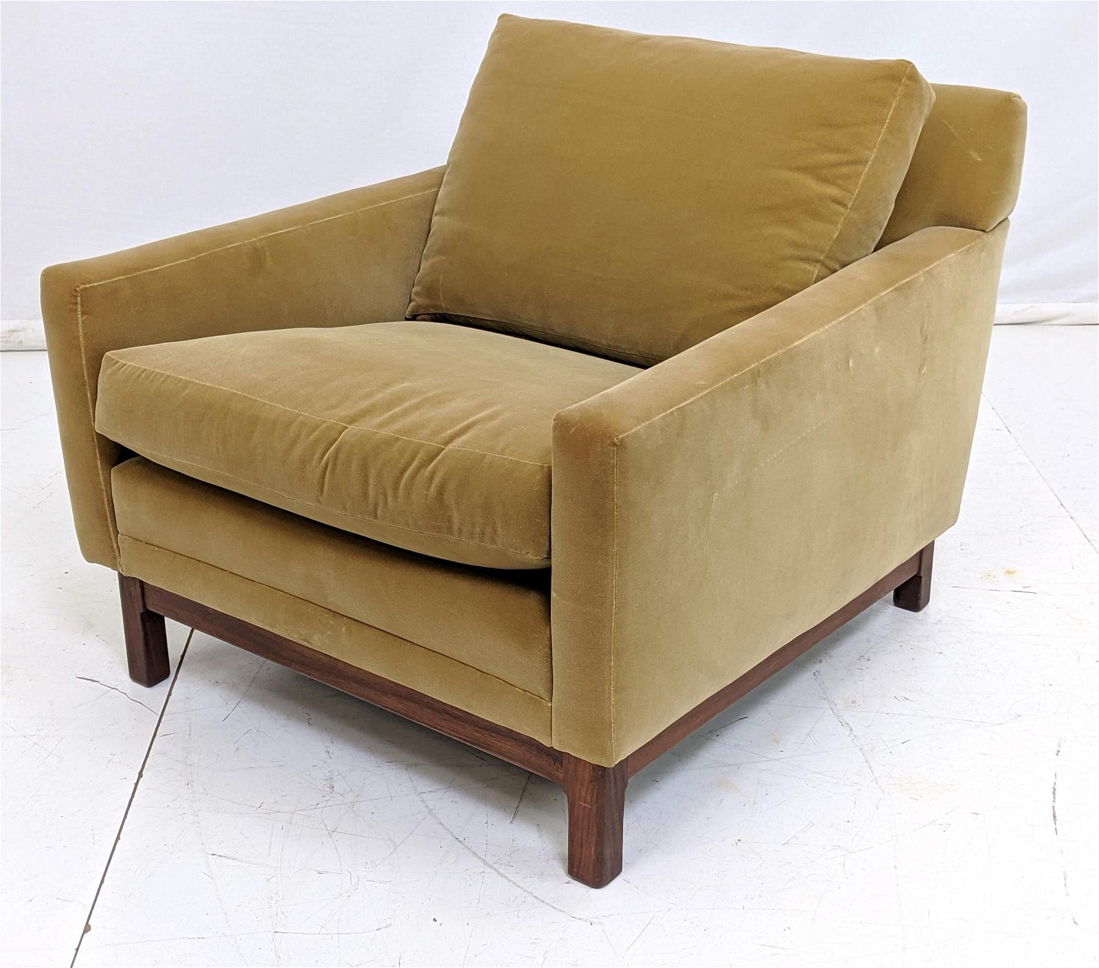 Gold Velvet Upholstered Walnut Frame Lounge Chair