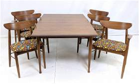 7pc Modernist Walnut Dining Set. Dining table wit