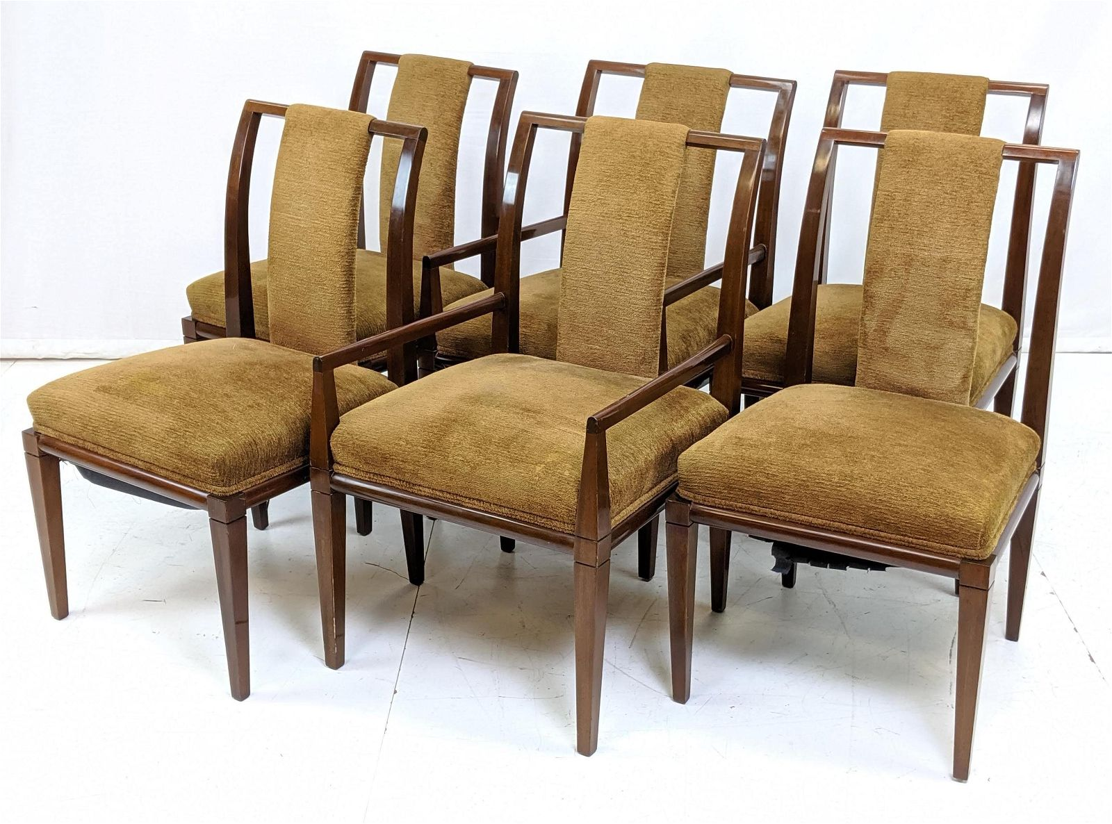 Set 6 TOMMI PARZINGER Walnut Dining Chair. 2 Arms