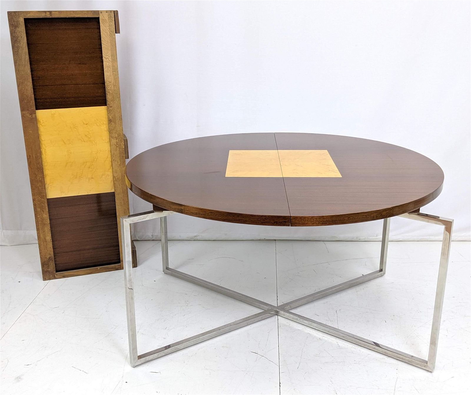 TOMMI PARZINGER Dining Table. Round Top on Square