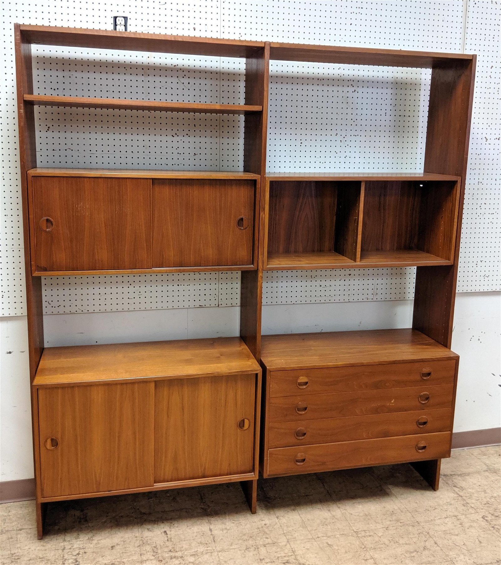 Danish Teak Wall Cabinet Unit. Room Divider Shelf