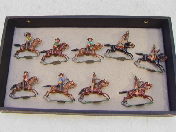 11: Vintage Lead Figures 9 pc Cowboys Indians Horses. A