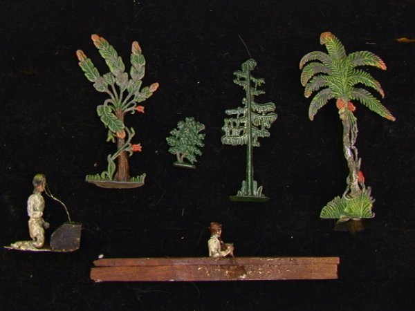 15: 6 pc Vintage Lead Figures Palm Trees  Kayaker  Lot