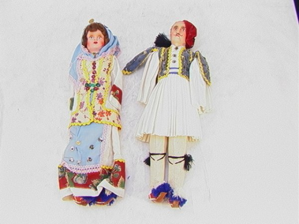 16: 2 Greek Papier Mache Costume Dolls  Mal
