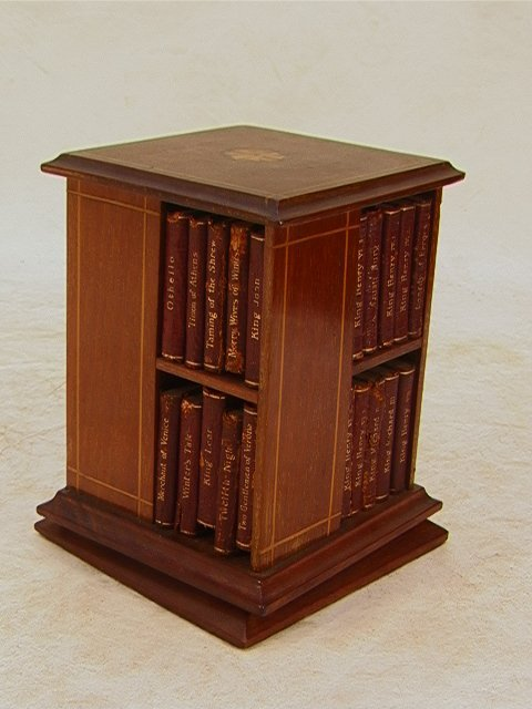 22: Miniature EDWARDIAN Revolving Bookcase Leather boun