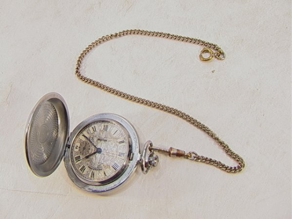 68: Russian Pocket Watch Molnija with Chain Fancy Face