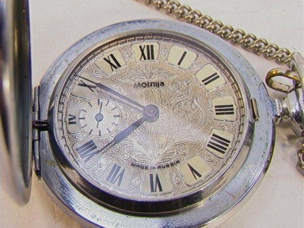 68: Russian Pocket Watch Molnija with Chain Fancy Face  - 2