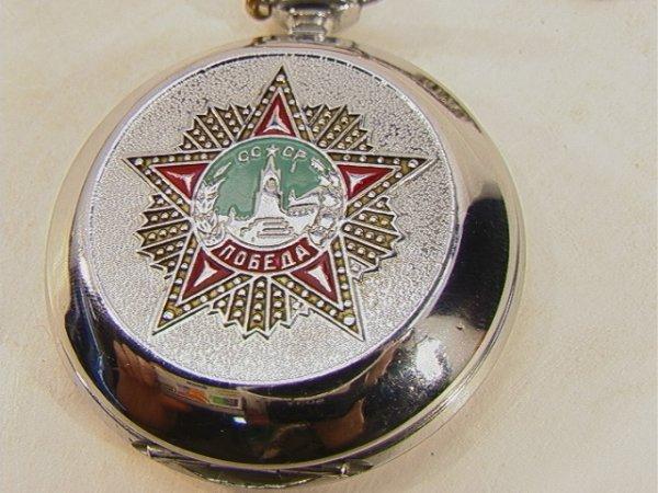 68: Russian Pocket Watch Molnija with Chain Fancy Face  - 3