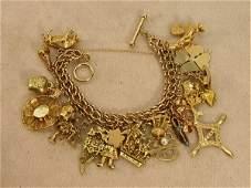 88: 14K YG Gold Charm Bracelet 23 Charms Bull Cuckoo Cl