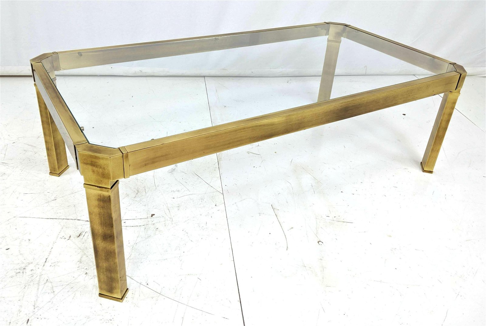 Mastercraft Style Heavy Brass Frame Coffee Table. Inset