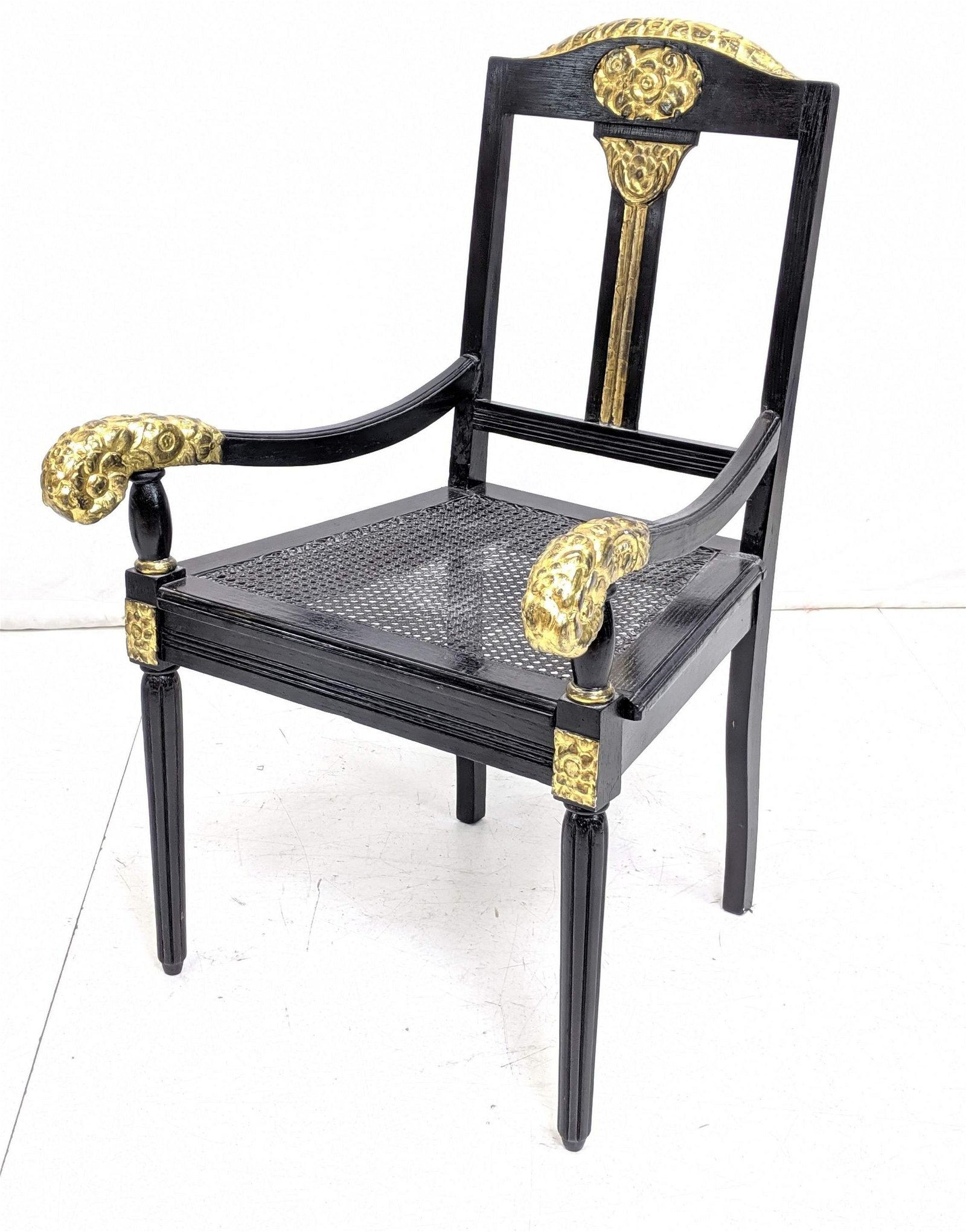 French Art Deco Style Carved Wood Arm Chair. Ebonized f