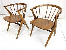 Pr Modernist Walnut Captains Chairs Barrel Back Back r