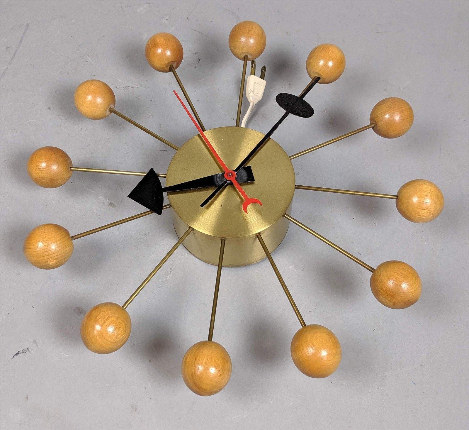 GEORGE NELSON for Howard  Miller Wood Ball Clock. Brush