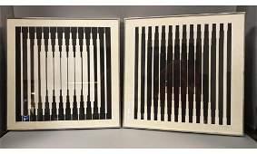 Pr VICTOR VASARELY Black and White Op Art Prints Moder