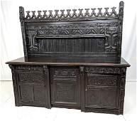 Large Carved Oak Gothic Server Sideboard. Heavily carve