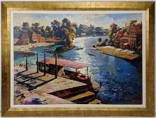 K TKATCH Large Oil on Canvas Harbor scene Gold gilt